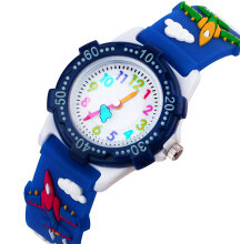 Keymao Fighter Waterproof 3D Cute Cartoon Silicone Wristwatches Gift for Little Girls Boy Kids Children Baby Blue