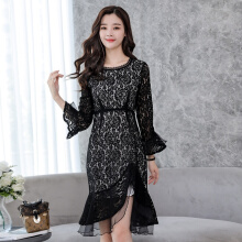 Ninataly Spring New Women Lace Dress Chic Style Hook Flowers Pierced Package Hip Fishtail casual Slim Zipper Dress Black XL