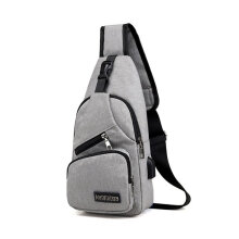 [COZIME] Multifunctional Men Waterproof Canvas USB Charging Running Chest Pouch Bag Gray