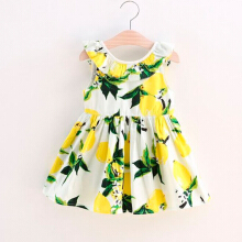 AOSEN Summer Baby Girls Floral Print Ruffle Cotton Poplin Backless Princess Casual Dress Midi Dress