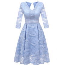 Xi Diao Long Sleeve V-neck Women Lace Dress