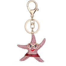 Starfish Shape Keychain Women Rhinestone Key Ring Handbag Pendant Jewelry pink
