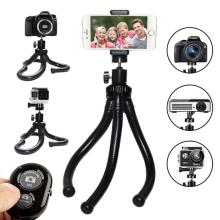 BIBURY Camera/Phone Tripod,Flexible Tripod for GoPro,Phone Tripod Stand with Cell Phone Holder Clip for iPhone/Android(3 in 1) Black