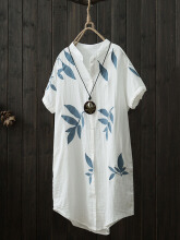 Zanzea Printed Short Sleeve V-neck Mid-Long Vintage Blouses White One Size