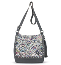 Sakroots Seni Flap Crossbody Bag Slate Brave Beauti