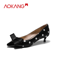 AOKANG women's pumps Shoes genuine leather bownot heel fashion ladies shoes