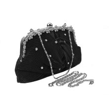 [LESHP]Luxury Evening Bag Rhinestone Studded Clutch Dinner With Chain Black