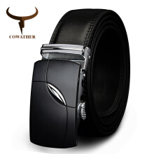 COWATHER cow genuine leather belts for men automatic alloy buckle Black 110cm