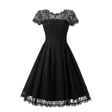 Xi Diao O-neck Lace Vintage Women Dress