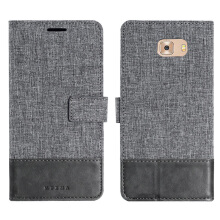 DELIVE Samsung Galaxy C9 Pro Case Canvas Stitching Leather Cover Flip Waller Card Slot Holster Phone Cover