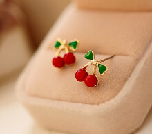 BENA  WD001  Red Cherry Stud Earring