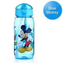 Jantens Children kids baby cartoon Minnie Mickey cute eco-friendly covered hiking straw type plastic water bottle Blue