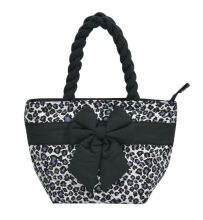 Naraya Leopard Printed Quilted with Ribbon Black and White