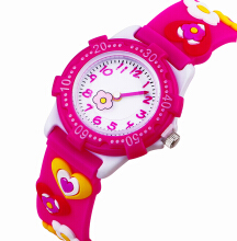 Keymao Love Waterproof 3D Cute Cartoon Silicone Wristwatches Gift for Little Girls Boy Kids Children Red