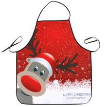 Christmas Deer Print Waterproof Kitchen Apron Red