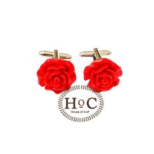 Houseofcuff  Cufflinks Manset Kancing Kemeja French Cuff  FLOWER WAX RED CUFFLINKS Red