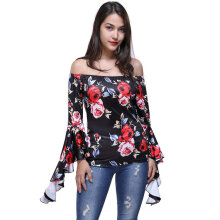 New Fashion Flower Pattern Sexy Off-Shoulder Long Sleeve Top With Choker Black M