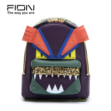 FION Jacquard with Leather Backpack - Green & Yellow Purple