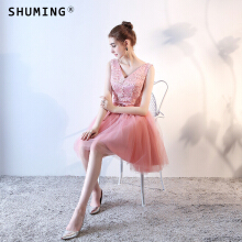 SHUMING-Dress Wedding dress Evening Dresses Pink S