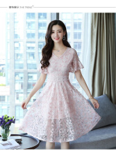 Ninataly Summer New Women Dress Slim Two-piece Lace Ruffled Hollow Dress Pink M