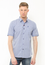 Johnwin - Slim Fit - Kemeja Casual Active - Motif Garis Biru - Putih