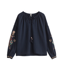 INMAN 1873021160 Blouse Women's Fall Fashion Lace Collar Blouse Embroidered Flowers Shoulder Long Sleeved Shirt