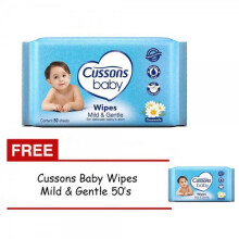 Cussons Baby Wipes Mild and Gentle 50 Sheet - BUY 1 GET 1 FREE