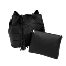 [LESHP]Women Tassel PU Leather Shoulder Bag Large Capacity Colorful Strap Sling Black