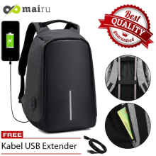 Mairu Tas Ransel Anti Maling Laptop Travel Backpack USB Charger Support Anti Theft Model l XD U-XD-USB