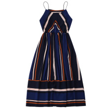 Jantens Casual striped beach skirt sexy women's sleeveless summer party dress