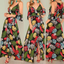 Maodapa Women  Printing Off Shoulder Floral Dress Ladies Long Maxi Dress