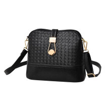 [LESHP]Autumn Fashionable PU Leather Knitted Women Single Shoulder Bag Shell Black