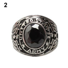 Farfi Men's Women's Punk Titanium Steel Band Rhinestone Finger Ring Jewelry Charm