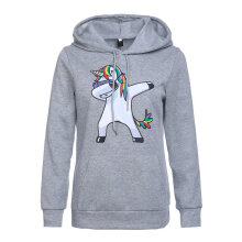 New Unicorn Print Hooded Sweater Casual Clothes Hooded Sweater Casual M