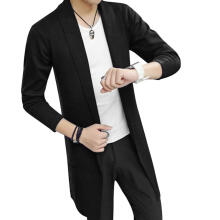 Farfi Md-Long Long Sleeve Knitted Cardigan Men's Solid Color Coat Slim Fit Outwear