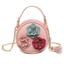[LESHP]Round Shape Lifelike Flowers Decoration Simple Shoulder Bag Crossbody Red