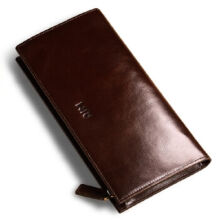 AIM A351 Men's leather Cowhide two fold section leather card holder wallet multi-function Long wallet-Coffee