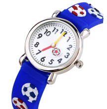 Keymao Little football Waterproof 3D Cute Cartoon Silicone Wristwatches Gift for Little Girls Boy Kids Children Blue
