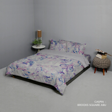 KING RABBIT Bedcover & Set Sprei Sarung Bantal Queen Motif Caspia - Ungu / 160x200x40cm Purple