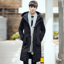 ESG Men's Korean Warm Winter Coat Youth thick Hooded Long Down Coat Jacket Overcoat Black L