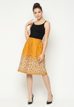 Mobile Power Ladies Pleats H-line Midi Skirt Printing - Mustard F8355 Yellow All Size
