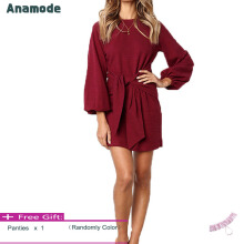 Anamode Sexy Lantern Sleeves Dresses Women Package Hips Dress Bandage Gown -WineRed -