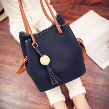 [LESHP]Fashionable Women Bag Shoulder Crossbody Bucket Bags Summer Tassel Handbags Light Grey