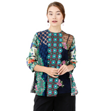 STUDIO 133 BIYAN Patchwork Blouse Lace Mix Satin Print - Multicolor