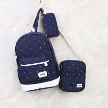 YOOHUI 3-piece casual women canvas bag Preppy Style student backpack for teenage girl backpack Navy Blue