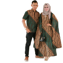 Zaviera - Sepasang Gamis Batik - Couple Dress Batik Cape - Batik Pria - Dress Cape