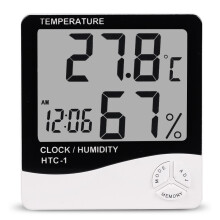 HTC-1 Digital LCD Electronic Alarm Clock Thermometer Hygrometer Weather Station Indoor Room Table