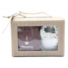 Cribcot Gift Set Booties Plain Broken White & Mitten I Love Mommy Daddy Misty Brown Broken White