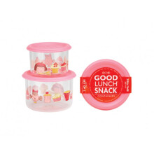 Sugar Booger Good Lunch Snack Containers Small Set of Two - Cupcake