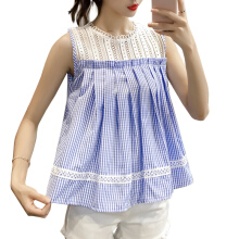 Jantens Plaid Joker Top New Fashion Summer Sleeveless Lace O-neck Openwork Shoulder Casual Korean Edition